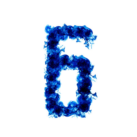 sixth: Sixth form a blue flame isolated on white background.