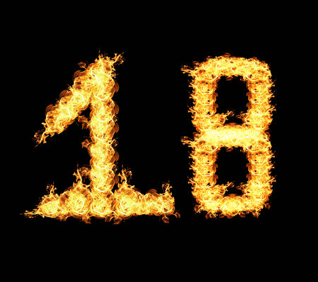 eighteen: Eighteen numbers Abstract flame isolated on black background.