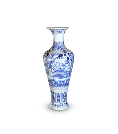 Ceramic Vase with flowers isolated on white background. 写真素材