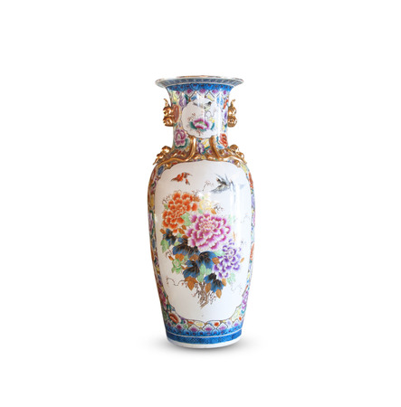 Ceramic Vase with flowers isolated on white background. Stock Photo