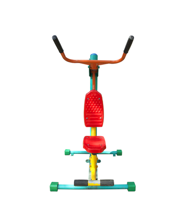 Outdoor Fitness Equipment old weathered isolated on white background.
