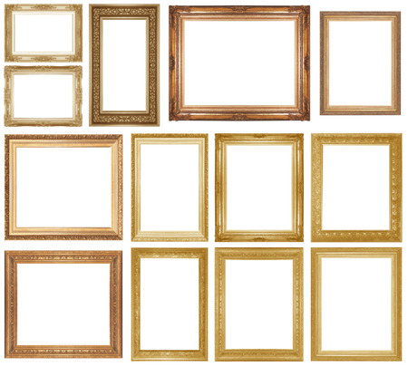 gold picture frame: Gold picture frame isolated on white background.