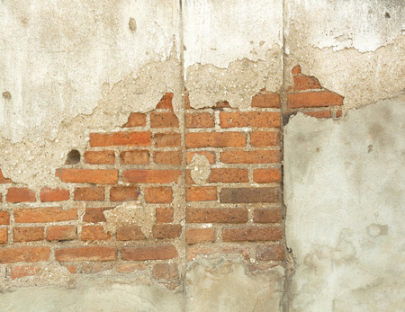 Old wall of red brick wall corrosion chart. photo