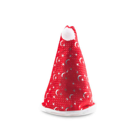 bestowing: Cross Santa hat isolated on white background.
