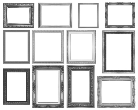 matted: Set Wood Carving black frame isolated on white background.