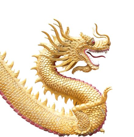 Giant golden Chinese dragon on isolated background