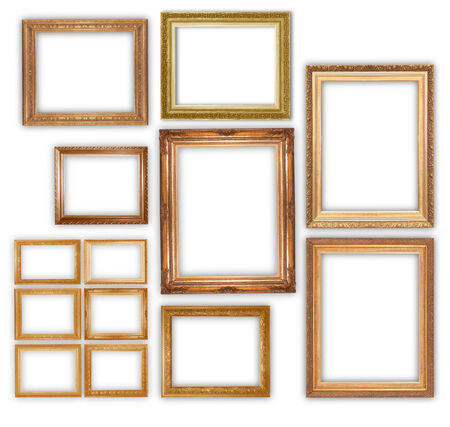 antique gold picture frames: Gold picture frame isolated on white background.