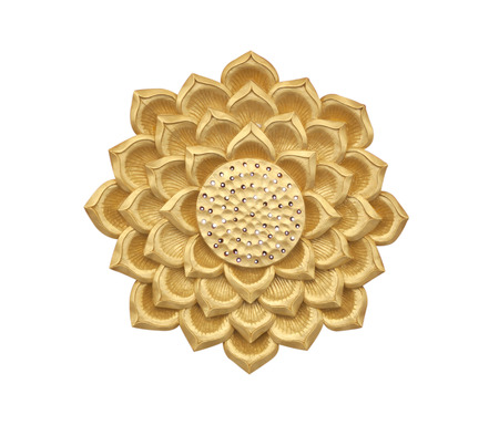 wood carving: Golden lotus wood carving on white background