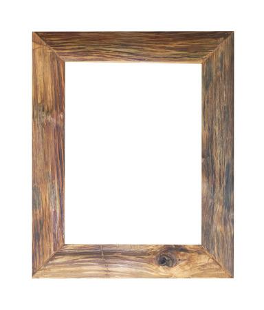 madera: Antiguo marco de madera aisladas sobre fondo blanco.