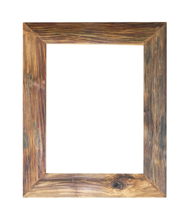 wooden frame: Old wooden frame isolated on white background.