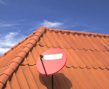 rooftile: The satellite dish on roof of the house