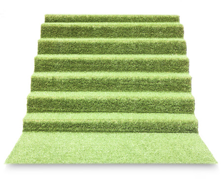 rug texture: Artificial grass ladder isolated on white background.