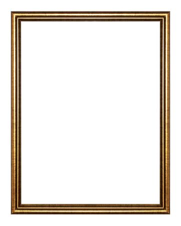decorative objects: Old antique gold picture frame wall, wallpaper, decorative objects isolated white background