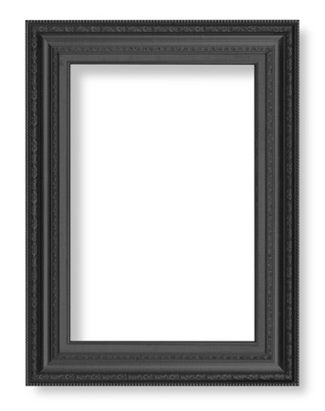 old picture: Old Antique Black frame Isolated Decorative Carved Wood Stand Antique Black Frame Isolated On White Background