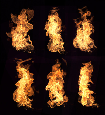 flames: Fire flames collection isolated on black background