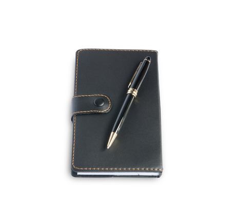 moleskine: Notebook pen note isolated on white background.