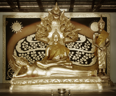 observance: Statue figurine of meditating Gautama Buddha in sitting lotus position for religious observance and spiritual meditation