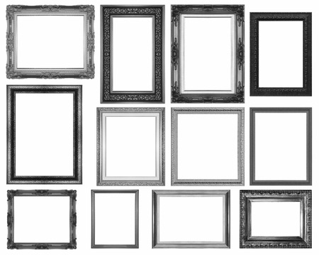 gold picture frame: set gold  picture  frame isolated on a white background. Stock Photo