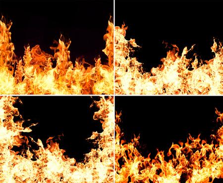 flames: Colección llamas de fuego aisladas sobre fondo negro