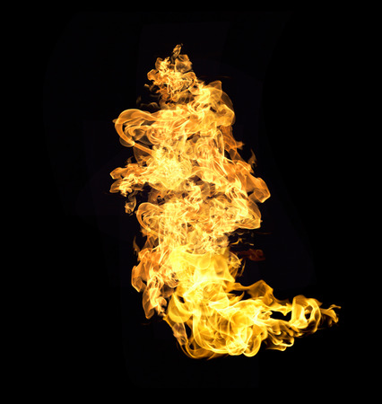 engulfed: Fire flames collection isolated on black background