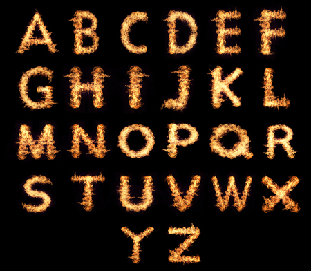 english letters: English letters Flames isolated on a black background.