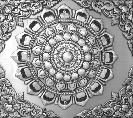 asian art: Background floral carved silver black, Asian religious art.