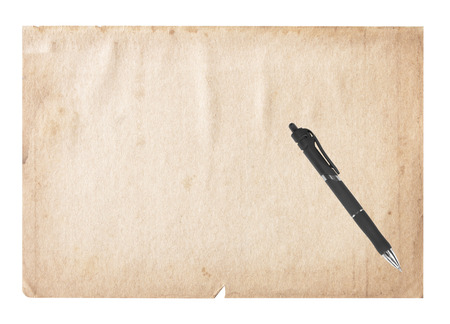 carta e penna: Vintage Old paper Pen isolated on white background. Archivio Fotografico