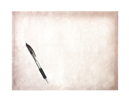 oldened: Vintage Old paper Pen isolated on white background. Stock Photo