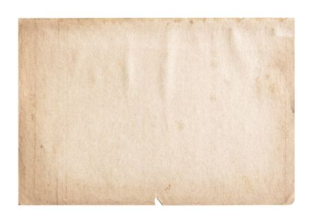 oldened: Vintage Old paper isolated on white background Stock Photo