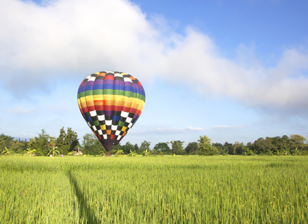 infield: Balloon middle infield tourist activity Chiang Mai, Thailand. Stock Photo