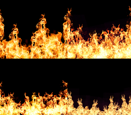 engulfed: The red flames on a black background.