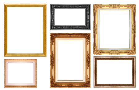 gold picture frame: gold  picture  frame isolated on a white background.