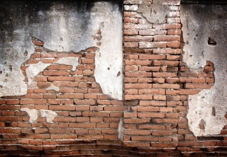 ladrillo: Fondo de la pared de la vendimia hormig�n agrietado, viejo muro