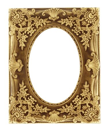 gold picture frame isolated on a white background. Stock Photo