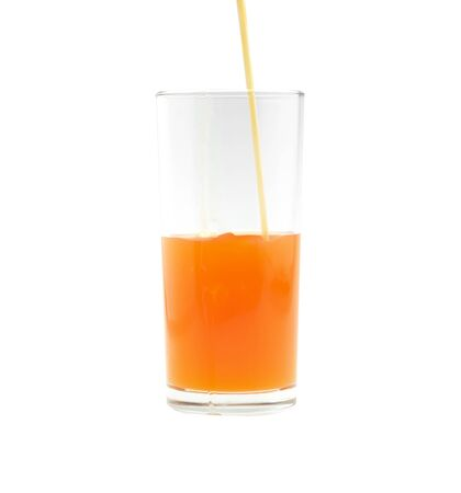 multivitamin: Glass of orange juice, tangerine  isolated on white background.
