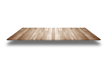 Wooden counter Product Display isolated on white background. Stock Photo