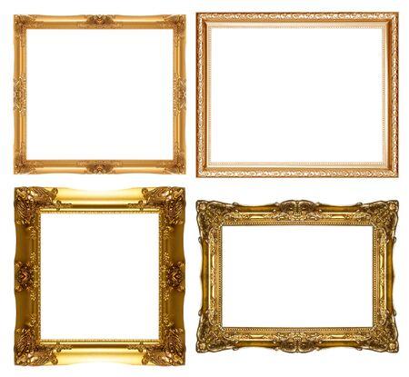 Satz von Vintage gold Bilderrahmen, isoliert mit Clipping-Pfad