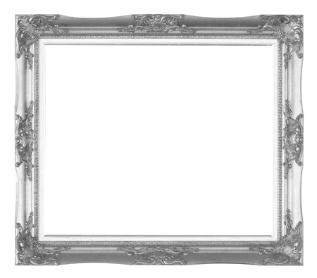 rummage: Old wooden frame silver isolated on white background.e