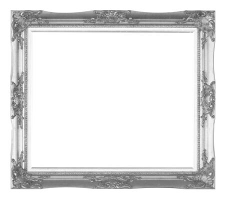 rummage: Old wooden frame silver isolated on white background