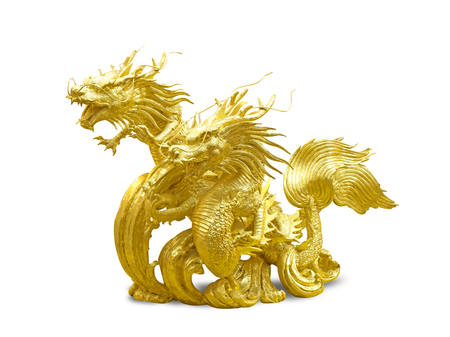 Golden Dragon carved wood on a white background. Stock Photo
