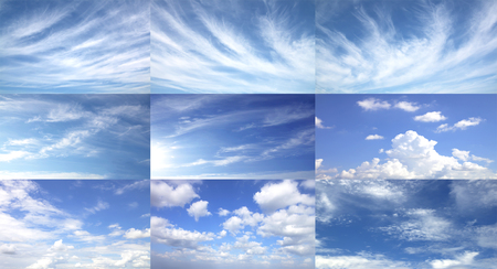 Sky, fresh air, nature, abstract background with white clouds. Stock Photo