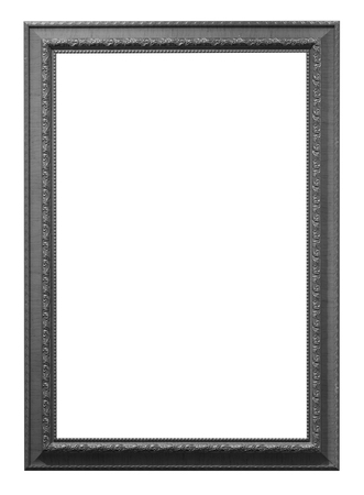 baroque border: Old Antique Black frame Isolated Decorative Carved Wood Stand Antique Black Frame Isolated On White Background