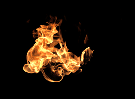 gas fireplace: Fire flames on a black background abstract. Stock Photo