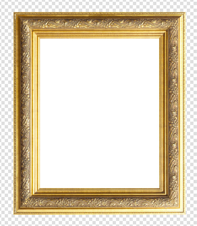 gold picture frame isolated on transparent background. Stock Photo