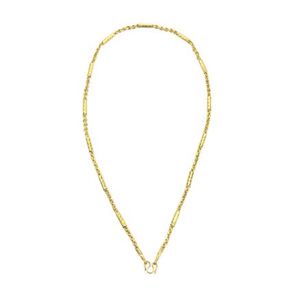 Gouden ketting sieraden geïsoleerd op een witte achtergrond. Stockfoto