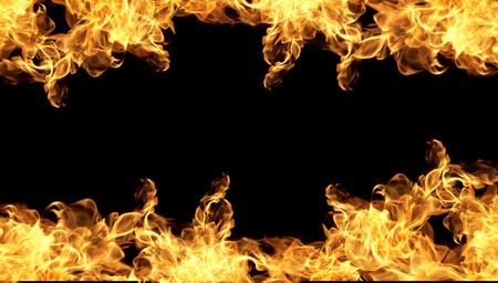 Fire flames on a black background abstract. Stock Photo