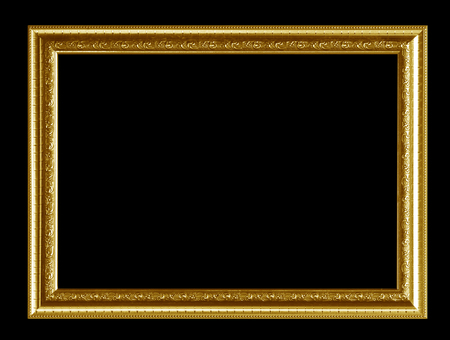 Gold picture frame Isolated on black background