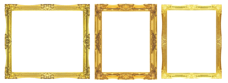 Old Antique gold frame Isolated On White Background Фото со стока