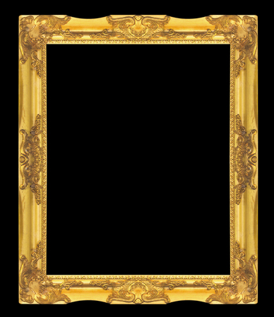 Old Antique gold frame Isolated On black Background