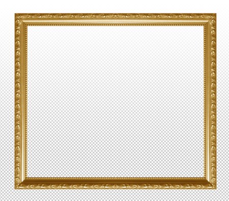 Golden wooden frame isolated on transparent background. Stock Photo